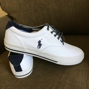 POLO Ralph Lauren White Canvas Sneakers! NWTS! 8 D